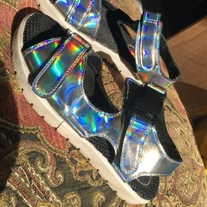 Holographic / iridescent rave shoes